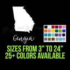 State of Georgia Custom Car Vinyl Decals, Custom Stickers, Car Decal, State Of Colorado, State Of Arizona, Yeti Decals, Wall Decals, Cornhole Decals, Transfer Tape