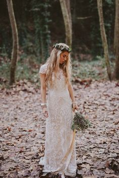 bohemian fall wedding ideas: boho lace wedding dress, flower crown and relaxed greenery as a bouquet