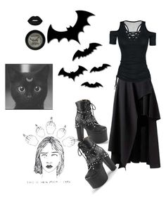 """""""goth"""" by naginiinapanini ❤ liked on Polyvore featuring Lime Crime, Demonia and Manic Panic NYC"""