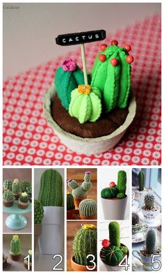 DIY Felt Cactus Pincushion Tutorial from Le Blog de Gedane here. Cats and Cacti are always really popular on my blog. Top Photo: DIY by Le Blog de Gedane. I translated it from French to English using Chrome, but the photos of how she sews the felt together don't require much explanation. Bottom Photo: My Cacti Roundup from cactus cupcakes to cactus in teacups here.