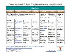 May 2014 FREE printable decluttering calendar with daily 15 minute mission {on Home Storage Solutions 101}