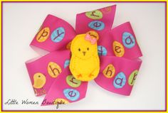 Easter bow. Can be put on a headband for $1 more. $5. You can send me a message or comment on the photos on my fb page www.facebook.com/littlewomenbowtique