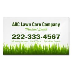 Lawn Care Landscaping Services Green Grass Style Magnetic Business Cards (Pack Of 25)