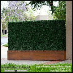 Artificial Boxwood Hedge in a Modern Planter with a Corten Steel Rusted Patina Finish One of the hottest trends in landscape design Artificial Hedges, Small Artificial Plants, Artificial Plant Wall, Artificial Boxwood, Artificial Turf, Artificial Flowers, Hanging Plants Outdoor, Indoor Plants, Boxwood Hedge