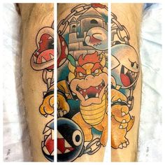 Mario Enemies tattoo done by @bunnymachine. #tattoos #ink #videogametattoo #gamertattoo #gamerink #videogames #gamer #gaming #nes #snes #supernintendo #n64 #gamecube #wii #wiiu #bowser #boo #piranhaplant #supermariobros #mariobros #bowsertattoo #bootattoo #piranhaplanttattoo #mariotattoo #mariobrostattoo Video Game Tattoos, Tattoo Videos, Gamer Tattoos, Tatoos, Wii U, Video Game Rooms, Video Games, Mario Tattoo, Castle Tattoo