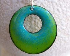 Reversible Enamel Ombre Circle Pendant by MaryLaskeyDesigns