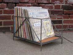 Love this industrial looking record crate (and if it wasn't made for records, it should be!)