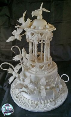 Our Gazebo & Doves Wedding Cake by Adrian Lee
