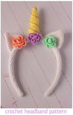 New Crochet Headband Unicorn Ideas Crochet Unicorn Blanket, Crochet Unicorn Pattern, Easter Crochet Patterns, Crochet Headband Pattern, Crochet Beanie Hat, Crochet Bunny, Crochet Crafts, Crochet Projects, Crochet Headbands