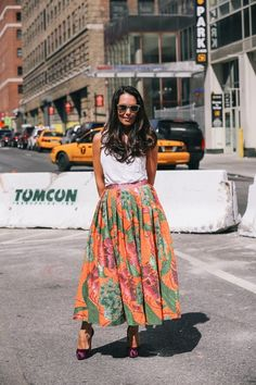 A full floral midi makes us want to spin.