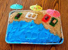 Dancin' With A Dolly: Gotta Love Pinterest luau party, beach cake, teddy graham cake