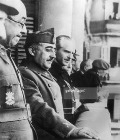 Spanish dictator General Francisco Franco (1892 - 1975, centre) with his brother in-law and Foreign Minister, Ramon Serrano Suner (right) during a visit to Italy, 7th June 1939. Photo by Keystone/Hulton Archive/Getty Images.
