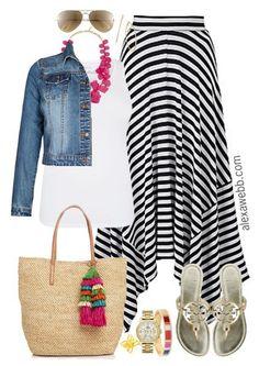 Plus Size Striped Maxi Skirt Outfit - Plus Size Fashion for Women - alexawebb.com