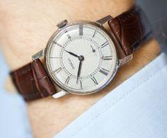 Swirl face men's watch Pobeda light grey wrist watch by SovietEra