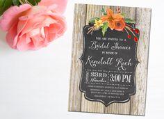 Rustic Fall Invitation, Bridal Shower, Wedding Shower, Thanksgiving, Engagement Party, Chalkboard, Printable, Invitations, Invite - Kendall by MermaidMonkeyDesigns on Etsy https://www.etsy.com/listing/248531914/rustic-fall-invitation-bridal-shower