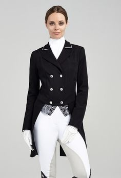 A glamorous shadbelly fit for a dressage queen. Crisp tailoring, weighted tails and stunning details to enhance your competition style. This shadbelly is tailored with a curved waist for a more flatte