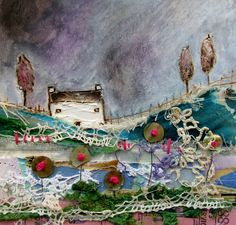 'A meadow washed with colour' by Louise O'Hara of DrawntoStitch https://www.facebook.com/DrawntoStitch