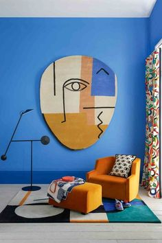 Styling by Rebecca de Boehmler. Photography by Simon Bevan. For Livingetc. How To Decorate With Cubism And Picasso Inspired Abstract Shapes. Colorful Interior Design, Interior Modern, Home Interior, Colorful Interiors, Interior Decorating, Luxury Interior, Color Interior, Interior Stairs, Bold Living Room