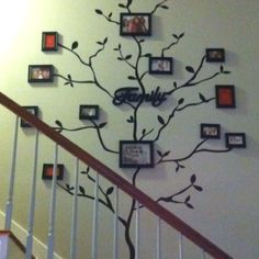 Finally decided on how to fill the wall  along the stairway. The family tree was an easy project. Instead of painting, we found peel and stick decals to make the tree and we used our 15 piece Family picture frame set we bought at the after Thanksgiving sale at Walmart. This is a great project for those who are renting and not allowed to paint.