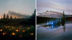 "This artist makes light sculpture in natural environments.  Just lovely, but I'm thinking of doing something like the image on the left in my ""meadow."""