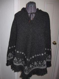 American Eagle Outfitters AEO Charcoal Gray Shetland Wool Fair Isle Poncho M/L #AmericanEagleOutfitters #Poncho #Casual