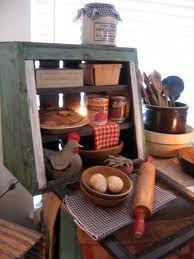 Primitive drop down front cupboard pie safe/bread