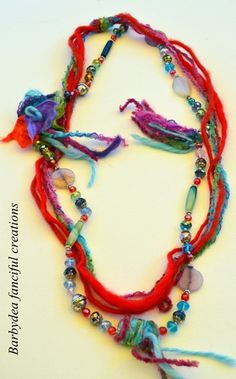 EMBROIDERY THREADS WITH BEAAD NECKLACE   Bijoux