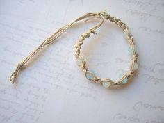 Aqua Crystal Faceted Hemp Bracelet CS127 by roadslesstraveled, $8.00