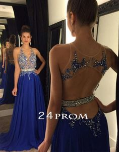 Royal Blue A-line Lace Sequin Long Prom Dresses, Formal Dresses,blue prom dress,24prom #prom #promdress #dress #formal #prom2k16