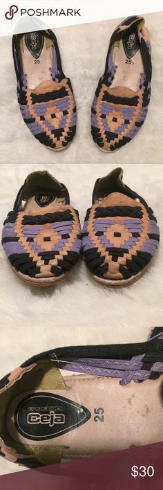 "Beautiful Mexican Leather Espadrille Loafers Beautiful Mexican Leather Espadrille Loafers. Purple, Black & Tan. Lightly pre-worn. Perfect for summer! They say ""25"", in my opinion they fit like an 8.5. ceja Shoes Flats & Loafers"