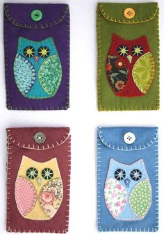 Owl phone case green felt i pod cover by PuffinPatchwork on Etsy