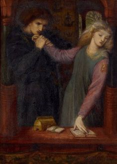 Hamlet & Ophelia, By Dante Gabriel Rossetti (English Painter, Dante Gabriel Rossetti, Auguste Rodin, John Everett Millais, William Morris, Hamlet And Ophelia, Gummi Arabicum, Pre Raphaelite Paintings, August Sander, Edward Burne Jones