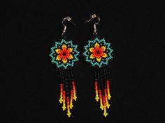 Starburst Earrings, Beaded Stars, Native American Jewelry Huichol, Star Earrings, Cute Circles w/ Tassels Starburst Earrings, Star Earrings, Beaded Earrings, Crochet Earrings, Drop Earrings, Indian Jewelry, Silver Jewelry, Sterling Silver Rings, Jewlery