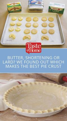 Butter, Shortening or Lard? We Found Out Which Makes the Best Pie Crust The perfect pie starts with a great pie crust. So what's the best choice for your pie crust recipe: butter, shortening or lard? Pie Crust Recipe Butter, Lard Pie Crust, Lard Recipe, No Fail Pie Crust, Pie Dough Recipe, Pie Crust Recipes, Pastry Recipes, Butter Pie, Perfect Pie Crust