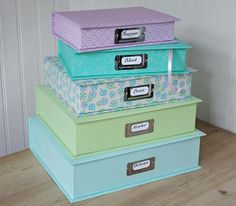 Cute storage boxes-i need these. they def have them at the container store..