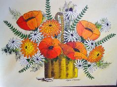 Retro Flower Painting, 1970s Original Framed Yellow Sun with Poppies by Joyce Chandler. $49.00, via Etsy.