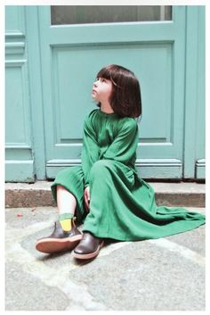 Green FLOWY looong dress