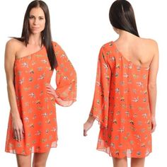 """🔴NEW Orange One Shoulder Bird Print Dress NEW Orange One Shoulder Bird Print Dress   Options:  Sz Small  (fits 4-6) Bust 34""""   We are excited to introduce this fun Orange one shoulder Bird Print Dress! Fully lined and made in the USA. Sz S comes just above my knee and I am 5'2"""" tall. 100% Polyester Dresses One Shoulder"""