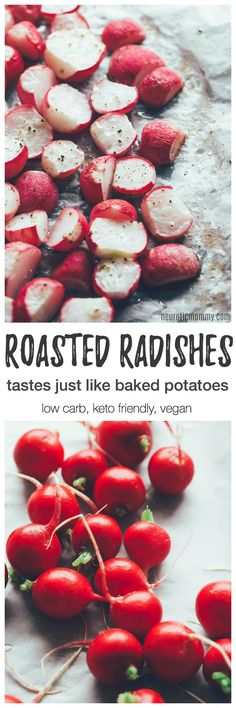 Roasted Radishes - The Potato Sub You've Been Looking For. If you're looking for a root vegetable to munch on, minus the carbs, radishes are your new best friend. Whole Food Recipes, Diet Recipes, Vegetarian Recipes, Cooking Recipes, Roast Recipes, Radish Recipes, Vegetable Recipes, Roasted Radishes, Vegetable Side Dishes
