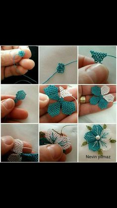 Crochet Flower Step By Step Bead Crochet, Irish Crochet, Filet Crochet, Crochet Necklace, Crochet Hats, Embroidery Patterns, Hand Embroidery, Stitch Patterns, Crochet Patterns