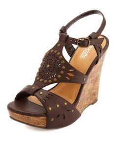 studded laser-cut platform wedge sandals