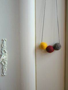 Felt necklace Textile necklace Mustard necklace от Anascrafties