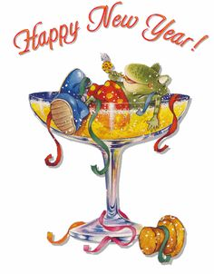Happy New Year Frog Animated Graphic