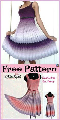Beautiful Crochet Flare Dress - Free Patterns One day I'll get this good! This Crochet Flare Dress is super beautiful, and you will look very stylish with it. T Shirt Fashion Ideas Clothing Gift Ideas For Boyfriend I hope you have enjoyed this beautifu Beau Crochet, Crochet Patron, Mode Crochet, Knit Crochet, Crochet Baby, Crotchet, Knit Lace, Crochet Skirts, Crochet Clothes