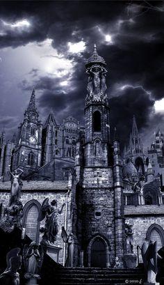 City of prayers by on DeviantArt Fantasy Places, Fantasy World, Dark Fantasy, Fantasy Art, Hogwarts, Dark Princess, Easy Canvas Art, Fantasy Castle, Dark Photography