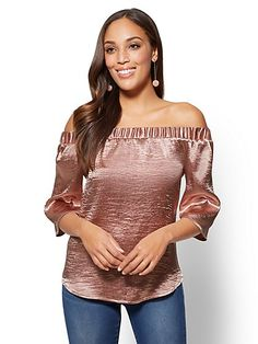 Satin Off-The-Shoulder Blouse - New York & Company