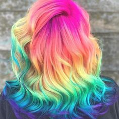 35 Cute And Crazy Hair Color Ideas For Long Hairs - Bafbouf Cute Hair Colors, Hair Dye Colors, Cool Hair Color, Hair Colour, Rainbow Hair Colors, Pastel Rainbow Hair, Colourful Hair, Mermaid Hair Colors, U Cut Hairstyle
