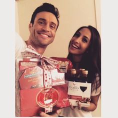 Daniel Goddard & Christel Khalil bts at CBS Studios with gifts from fans  on February 13, 2015