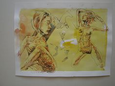 book illustrations Beginn & Jugend Die -Spanische Wand- Federzeichnung, aquarelliert 18.o8.2o13