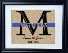 Proud to support our Law Enforcement.  Customize the thin blue line print with your last name and established
